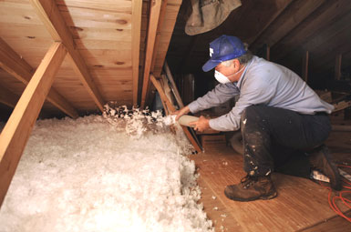 Blowing in Attic Insulation